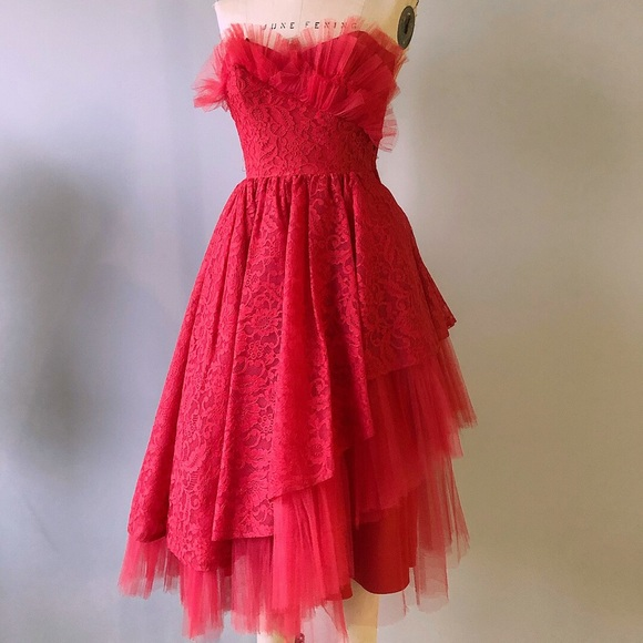 43b83b00be Vintage Circa 1950 s Red Strapless Lace Dress